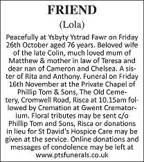 Lola Friend Death notice
