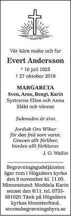 Evert Andersson Death notice