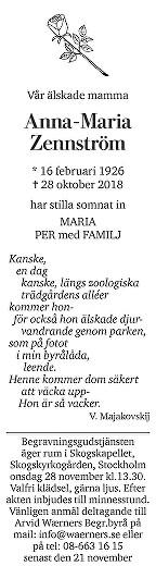 Anna-Maria Zennström Death notice