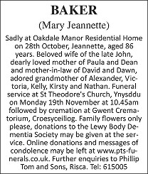 Mary Jeannette Baker Death notice
