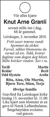 Knut Arne Granli Dødsannonse