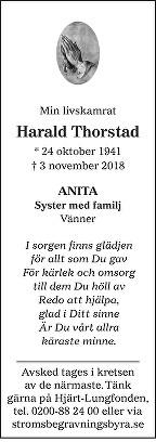 Harald Thorstad Death notice