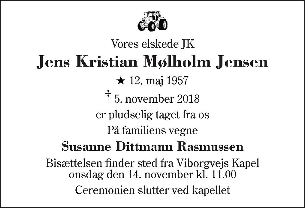 Jens Kristian Mølholm  Jensen Death notice