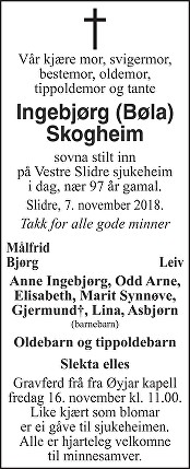 Ingebjørg Skogheim Dødsannonse
