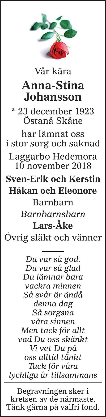 Anna-Stina Johansson Death notice