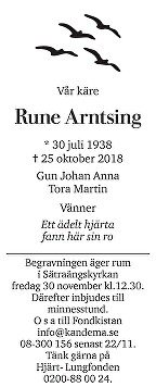 Rune Arntsing Death notice