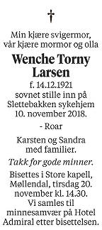 Wenche Torny Larsen Dødsannonse