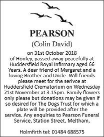 Colin David Pearson Death notice