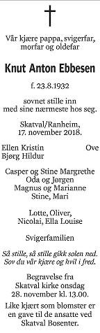 Knut Anton Ebbesen Dødsannonse