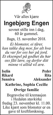Ingebjørg Engen Dødsannonse