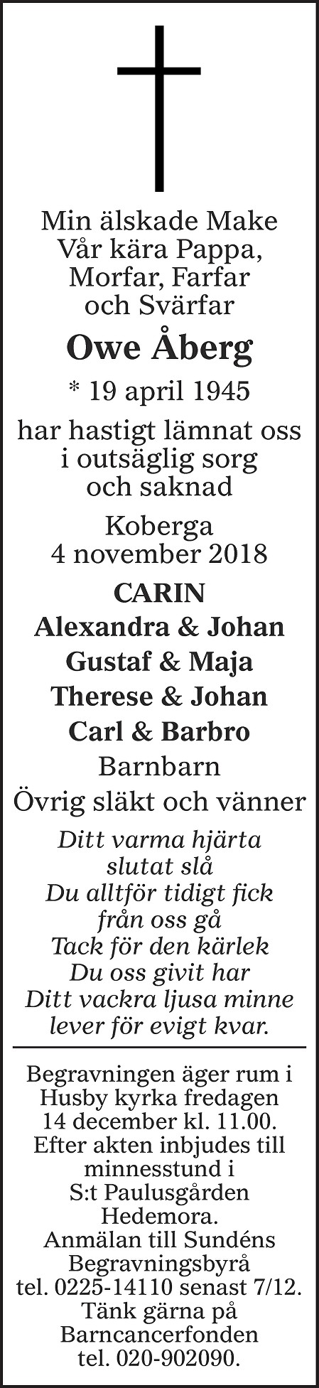 Ove Åberg Death notice