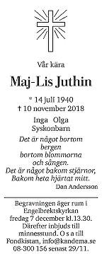 Maj-Lis Juthin Death notice