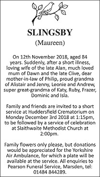 Maureen Slingsby Death notice