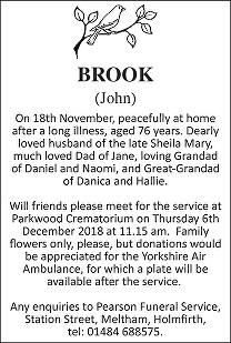 John Brook Death notice