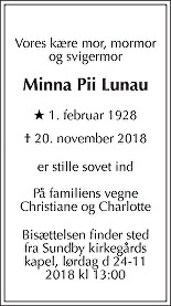 Minna Pii  Lunau Death notice