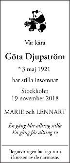 Göta Djupström Death notice