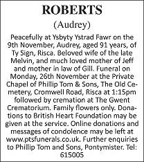 Audrey Roberts Death notice
