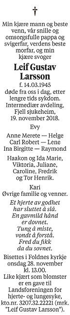 Leif Gustav Larsson Dødsannonse