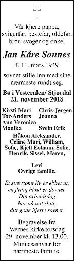 Jan Kåre Sannes Dødsannonse