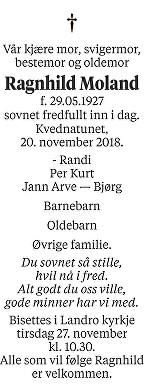 Ragnhild Moland Dødsannonse