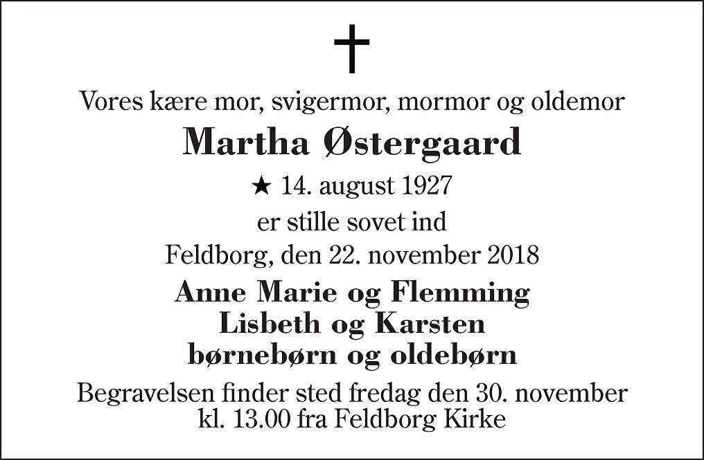 Martha  Østergaard Death notice