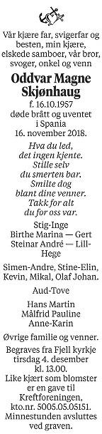 Oddvar Magne Skjønhaug Dødsannonse