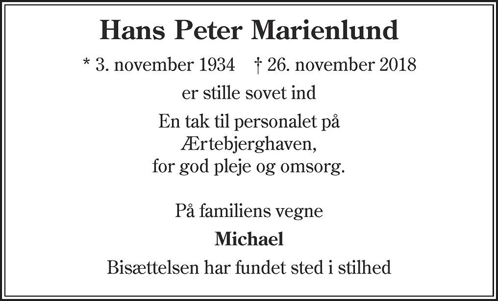 Hans Peter  Marienlund Death notice