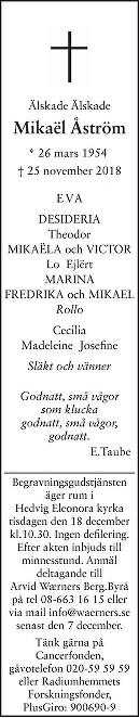 Mikaël Åström Death notice