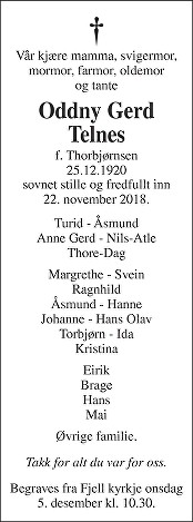 Oddny Gerd Telnes Dødsannonse