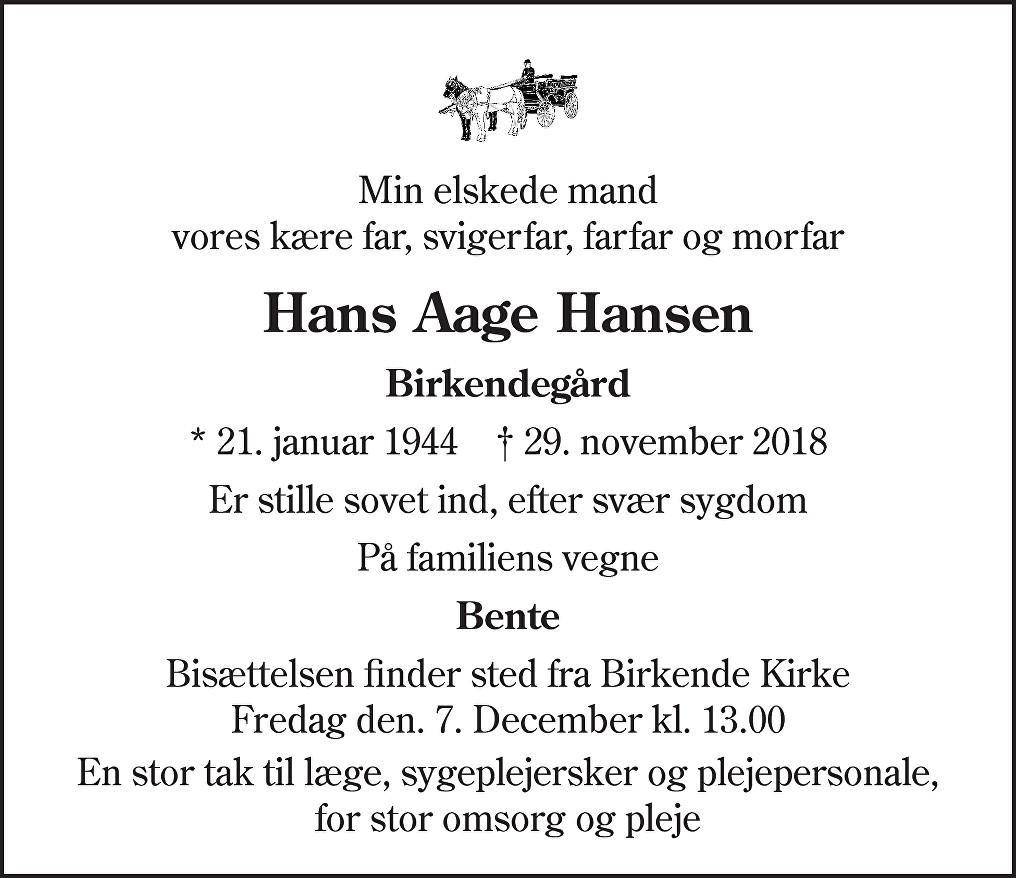 Hans Aage  Hansen Death notice