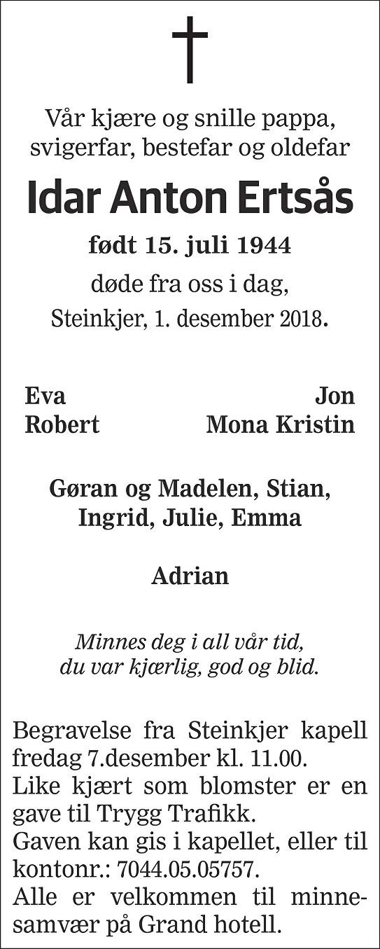 Idar Anton Ertsås Dødsannonse