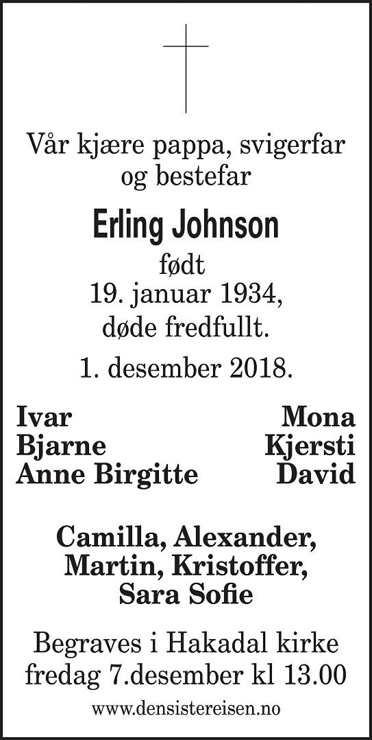 Erling Johnson Dødsannonse