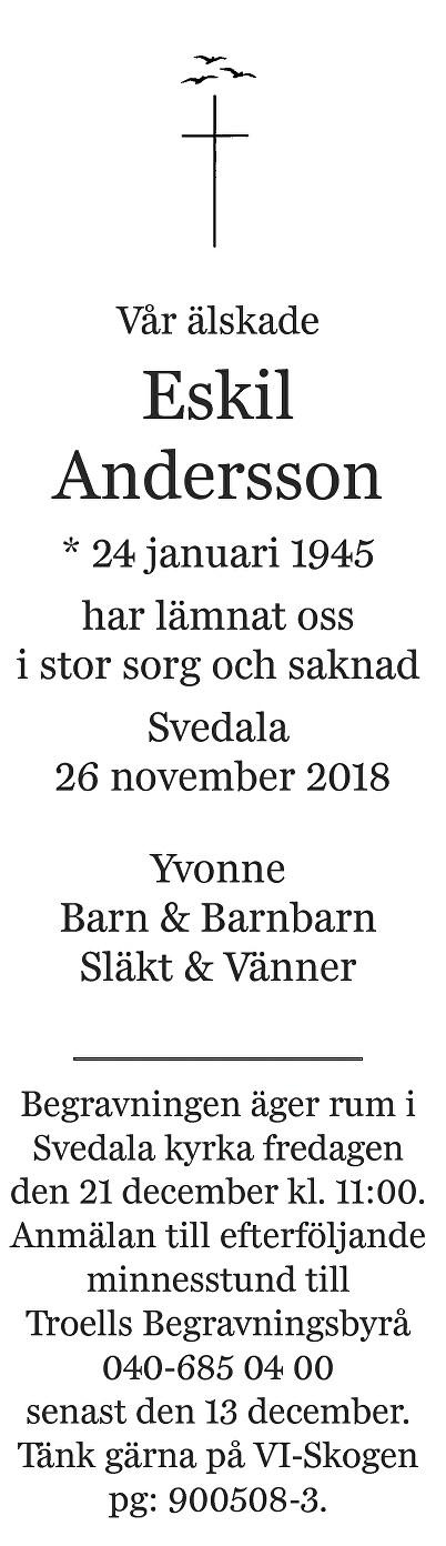 Eskil Andersson Death notice