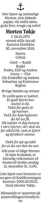 Morten  Tøkje Dødsannonse