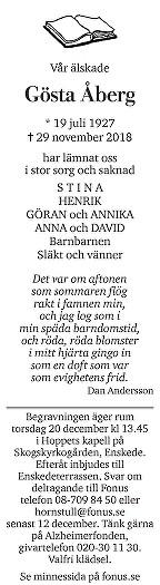 Gösta Åberg Dödsannons