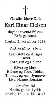Karl Einar Eielsen Dødsannonse