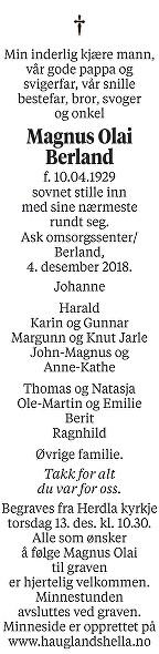 Magnus Olai Berland Dødsannonse