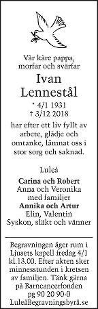 Knut Ivan Lennestål Dödsannons