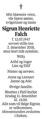 Sigrun Henriette Falch Dødsannonse