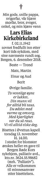 Lars Elias Kirkebirkeland Dødsannonse