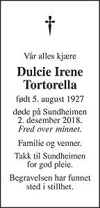 Dulcie Irene Tortorella Dødsannonse