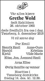 Grethe Wold Dødsannonse