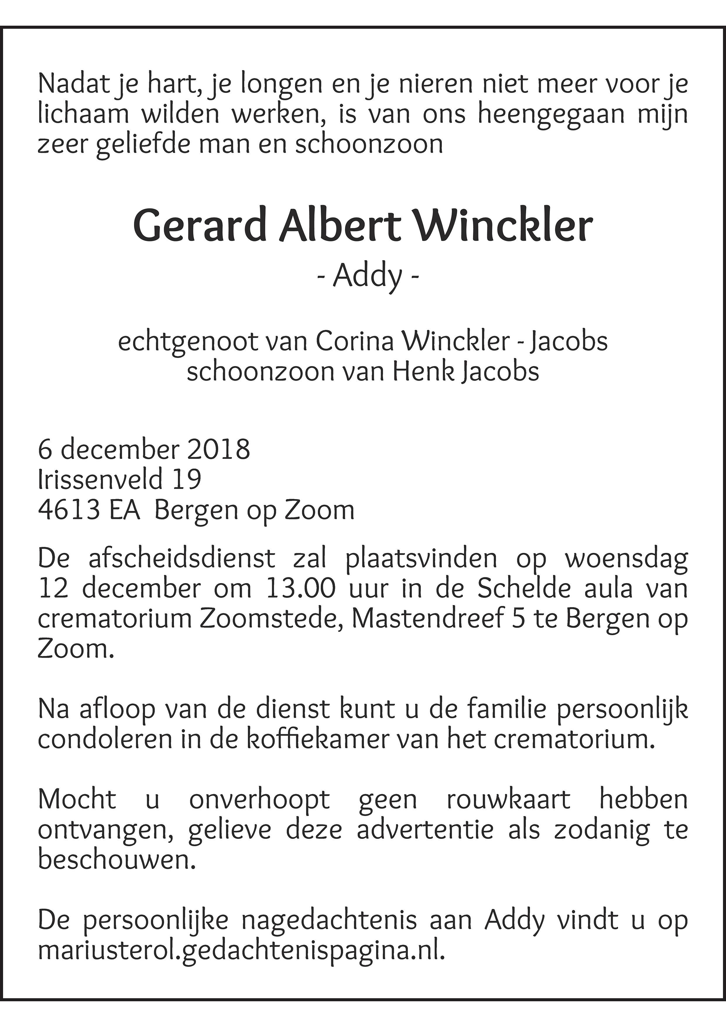 Addy Winckler Death notice