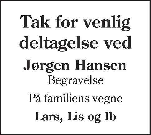 Jørgen Frederik  Hansen Death notice