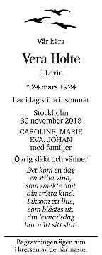 Vera Holte Death notice