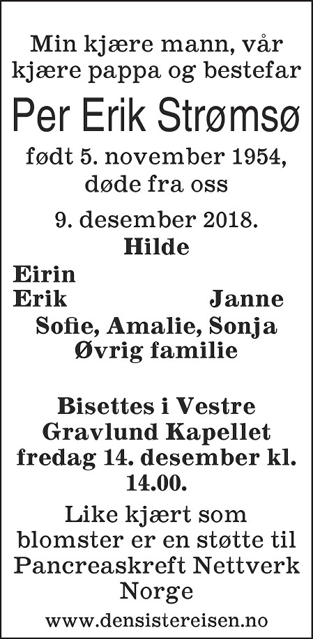 Per Erik Strømsø Dødsannonse
