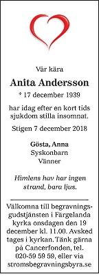 Anita Andersson Death notice