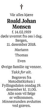 Roald Johan Monsen Dødsannonse