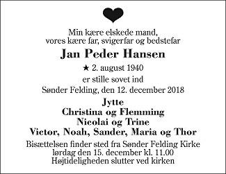 Jan Peder Hansen Death notice