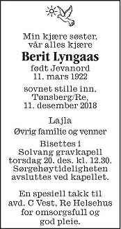 Berit Lyngaas Dødsannonse